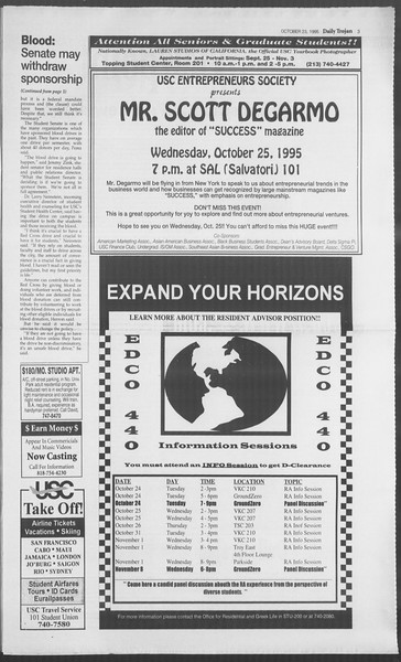 Daily Trojan, Vol. 126, No. 36, October 23, 1995