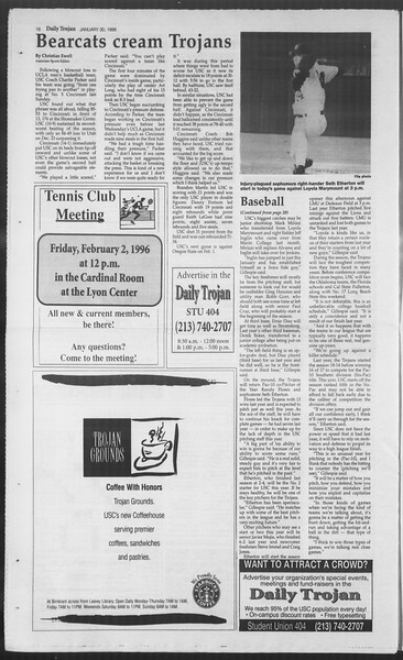 Daily Trojan, Vol. 127, No. 12, January 30, 1996