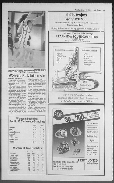 Daily Trojan, Vol. 114, No. 5, January 15, 1991