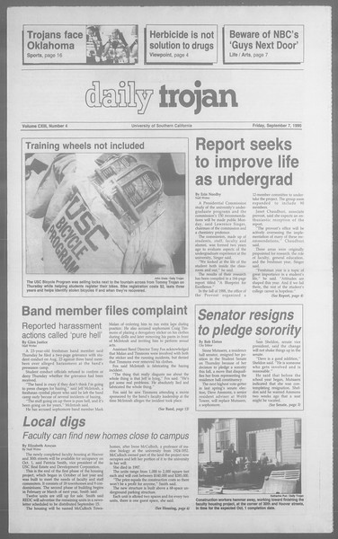Daily Trojan, Vol. 113, No. 4, September 07, 1990