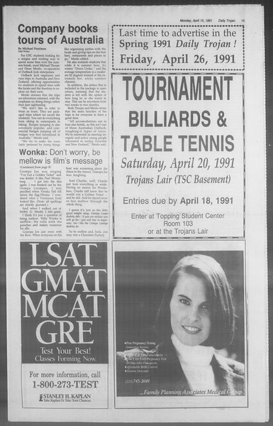 Daily Trojan, Vol. 114, No. 59, April 15, 1991