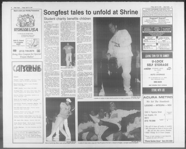 Daily Trojan, Vol. 114, No. 63, April 19, 1991