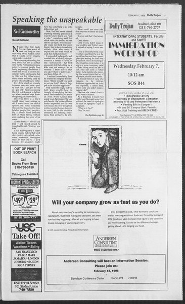Daily Trojan, Vol. 127, No. 18, February 07, 1996