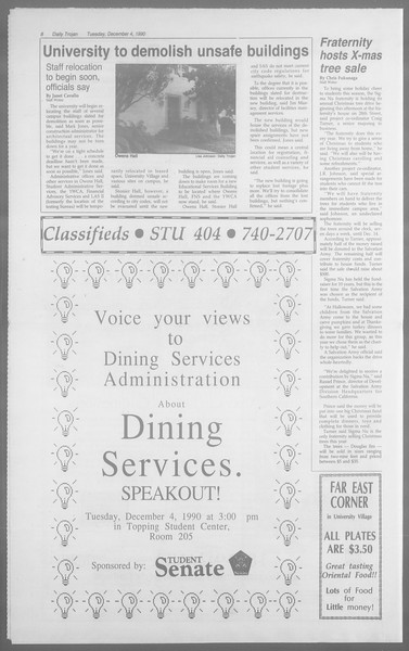 Daily Trojan, Vol. 113, No. 62, December 04, 1990