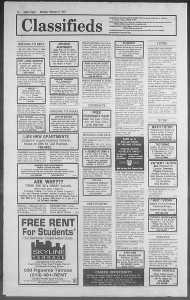 Daily Trojan, Vol. 114, No. 17, February 04, 1991