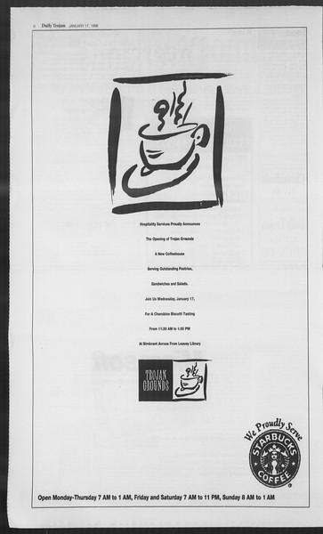 Daily Trojan, Vol. 127, No. 3, January 17, 1996