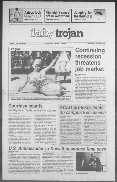 Daily Trojan, Vol. 114, No. 47, March 20, 1991
