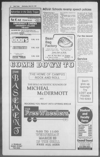 Daily Trojan, Vol. 114, No. 47, March 20, 1991
