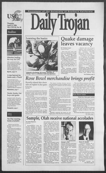 Daily Trojan, Vol. 127, No. 56, April 11, 1996