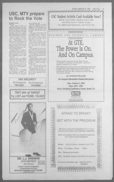 Daily Trojan, Vol. 113, No. 18, September 27, 1990