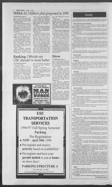 Daily Trojan, Vol. 127, No. 49, April 02, 1996