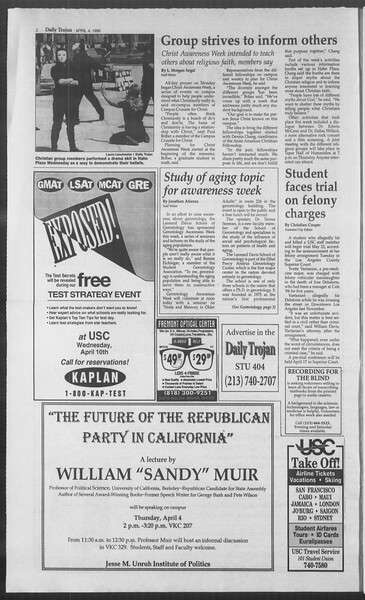 Daily Trojan, Vol. 127, No. 51, April 04, 1996