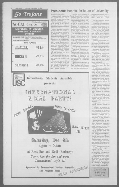 Daily Trojan, Vol. 113, No. 64, December 06, 1990