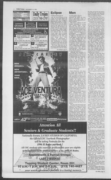 Daily Trojan, Vol. 126, No. 50, November 10, 1995