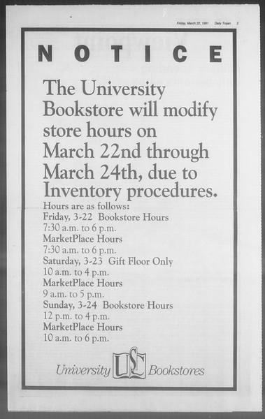 Daily Trojan, Vol. 114, No. 49, March 22, 1991