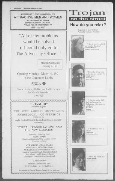 Daily Trojan, Vol. 114, No. 27, February 20, 1991