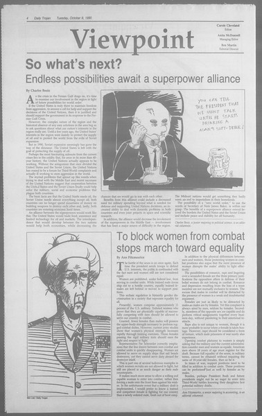 Daily Trojan, Vol. 113, No. 26, October 09, 1990