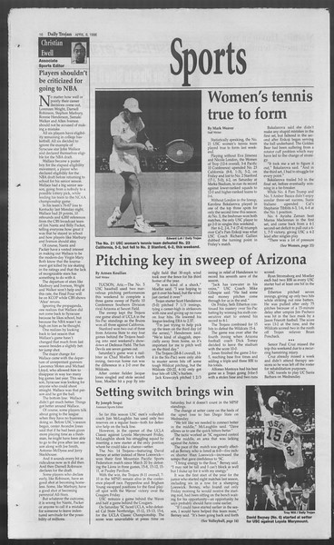 Daily Trojan, Vol. 127, No. 53, April 08, 1996