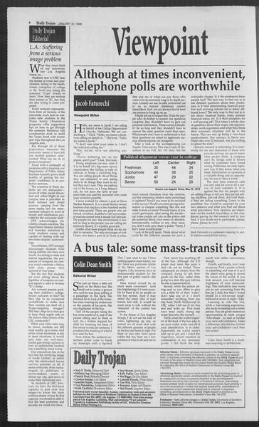 Daily Trojan, Vol. 127, No. 6, January 22, 1996