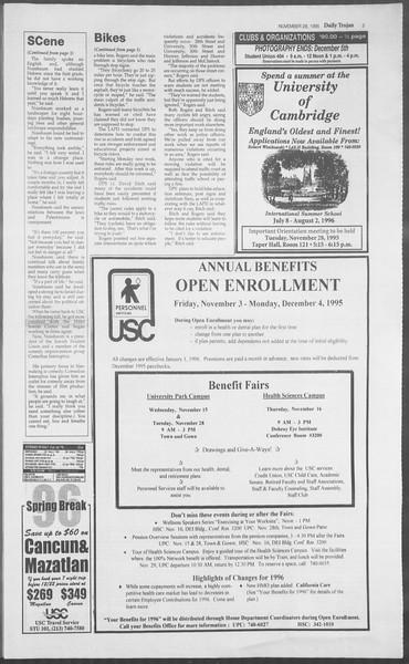 Daily Trojan, Vol. 126, No. 58, November 28, 1995