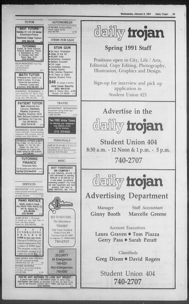 Daily Trojan, Vol. 114, No. 1, January 09, 1991