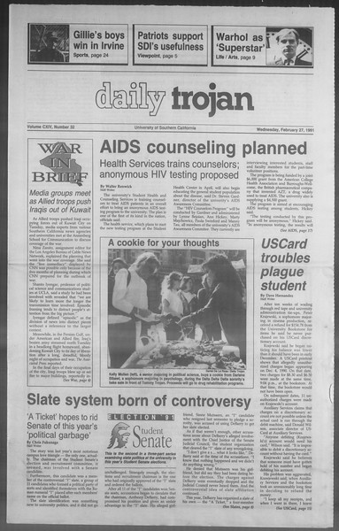 Daily Trojan, Vol. 114, No. 32, February 27, 1991