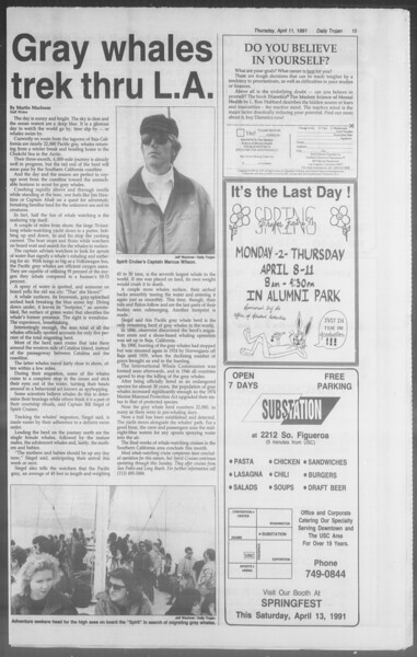 Daily Trojan, Vol. 114, No. 57, April 11, 1991