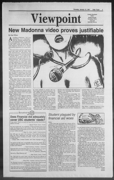 Daily Trojan, Vol. 114, No. 2, January 10, 1991