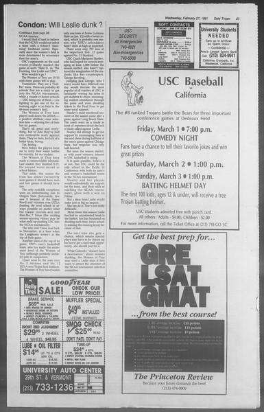 Daily Trojan, Vol. 114, No. 32, February 27, 1991