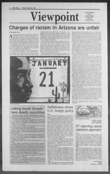 Daily Trojan, Vol. 114, No. 11, January 25, 1991