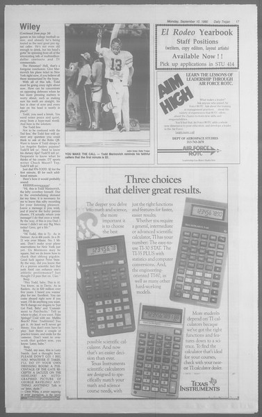 Daily Trojan, Vol. 113, No. 5, September 10, 1990