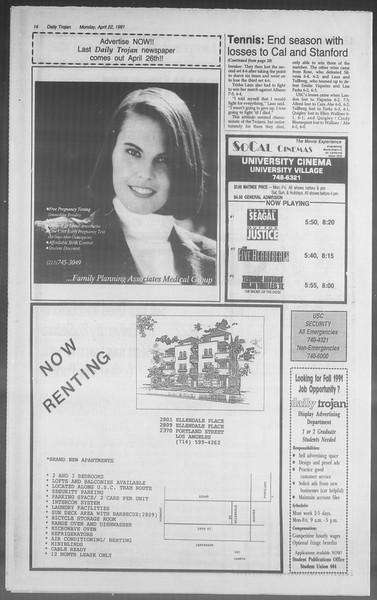 Daily Trojan, Vol. 114, No. 64, April 22, 1991