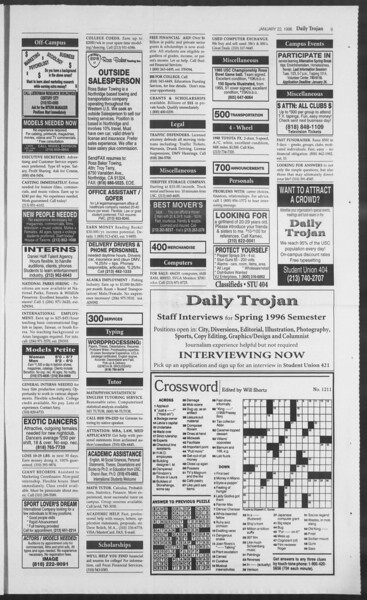 Daily Trojan, Vol. 127, No. 6, January 22, 1996