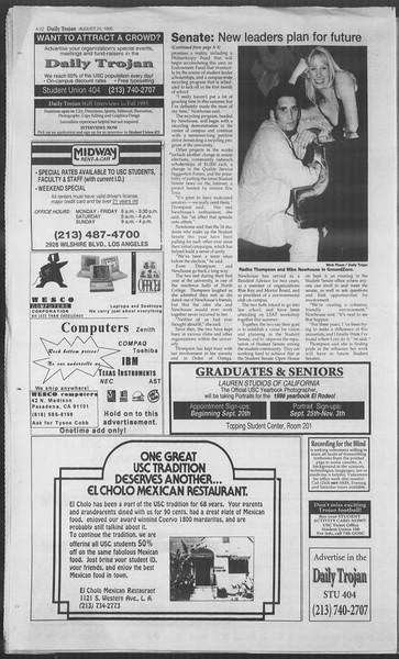 Daily Trojan, Vol. 126, No. 1, August 24, 1995