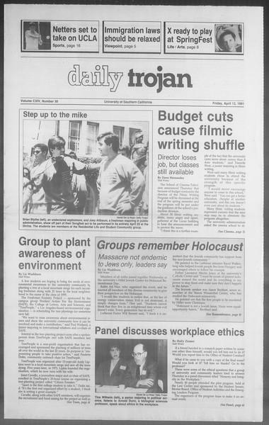 Daily Trojan, Vol. 114, No. 58, April 12, 1991
