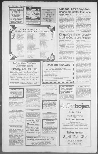 Daily Trojan, Vol. 114, No. 62, April 18, 1991