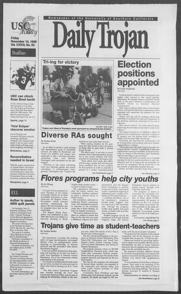 Daily Trojan, Vol. 126, No. 50, November 10, 1995