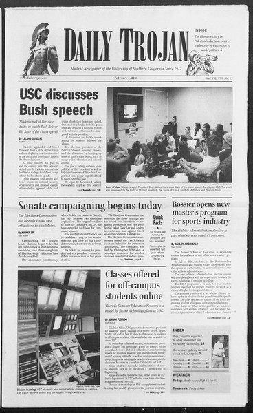 Daily Trojan, Vol. 157, No. 15, February 01, 2006