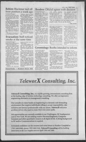 Daily Trojan, Vol. 127, No. 51, April 04, 1996