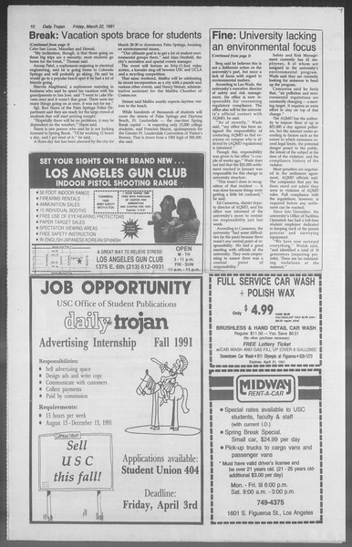 Daily Trojan, Vol. 114, No. 49, March 22, 1991