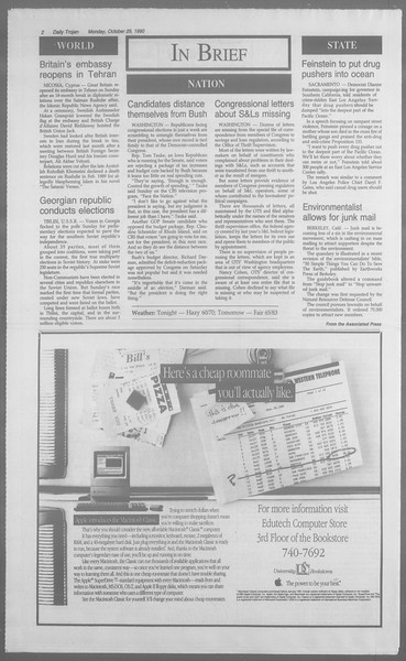 Daily Trojan, Vol. 113, No. 39, October 29, 1990