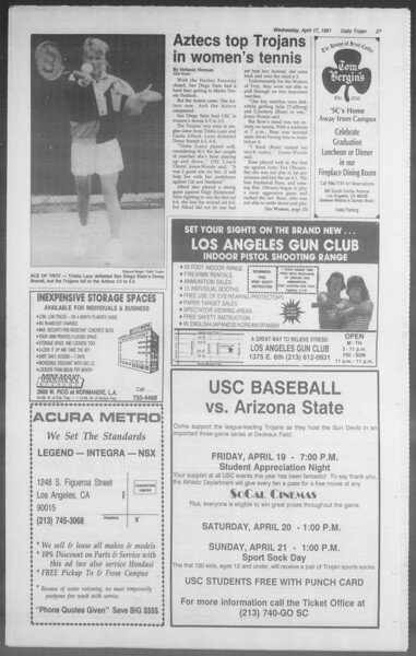Daily Trojan, Vol. 114, No. 61, April 17, 1991