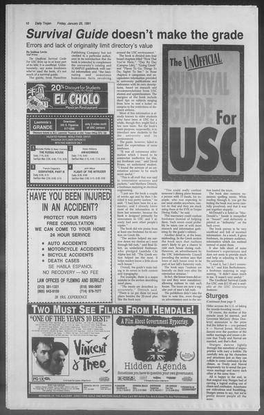 Daily Trojan, Vol. 114, No. 11, January 25, 1991