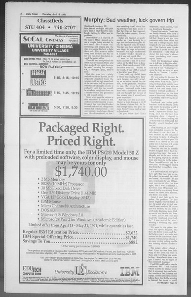 Daily Trojan, Vol. 114, No. 62, April 18, 1991