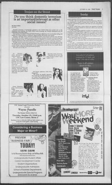 Daily Trojan, Vol. 126, No. 33, October 18, 1995