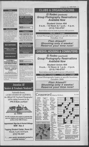 Daily Trojan, Vol. 126, No. 41, October 30, 1995