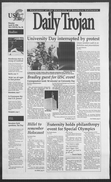 Daily Trojan, Vol. 127, No. 58, April 15, 1996