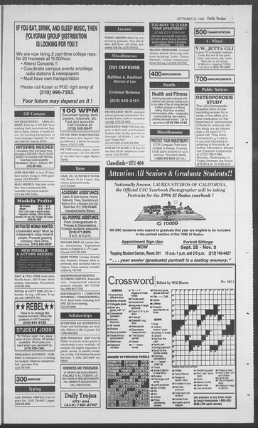 Daily Trojan, Vol. 126, No. 16, September 22, 1995