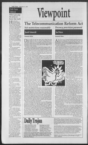 Daily Trojan, Vol. 127, No. 22, February 13, 1996