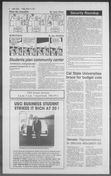 Daily Trojan, Vol. 114, No. 44, March 15, 1991